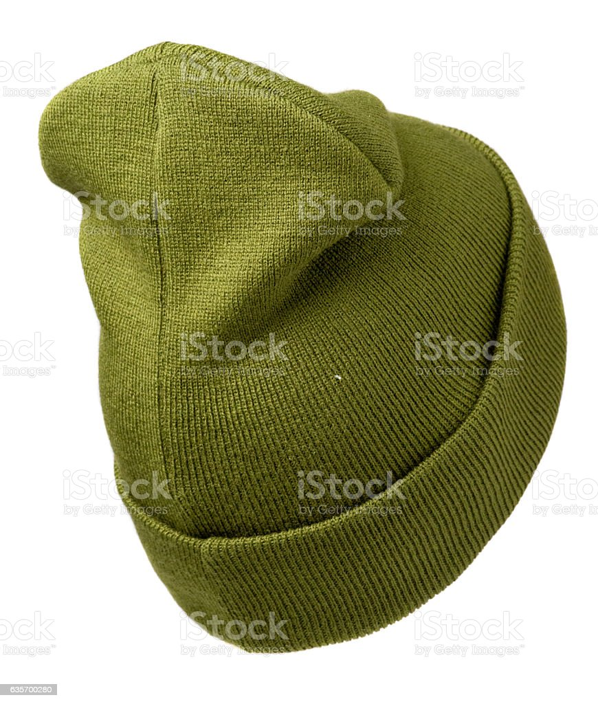 hat isolated on white background .knitted hat .olive hat . royalty-free stock photo