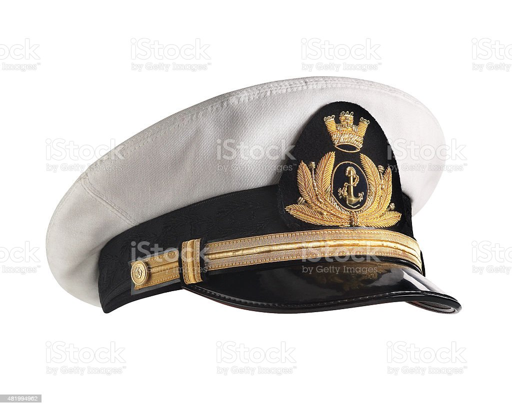 Hat naval officer profile stock photo