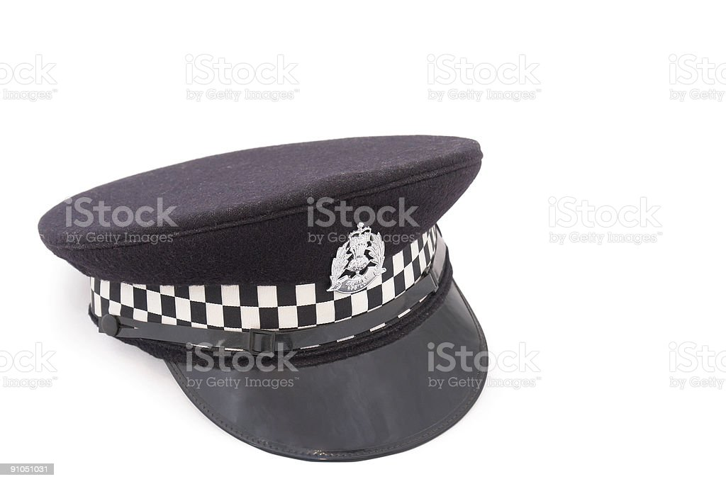 Hat of British police officer stock photo
