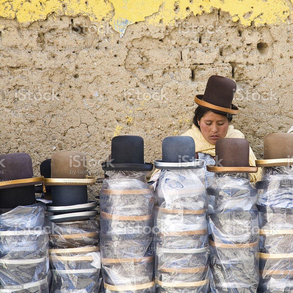 Hat Shop, Bolivia stock photo
