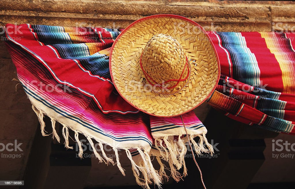 Hat Sombrero Mexican Blanket royalty-free stock photo