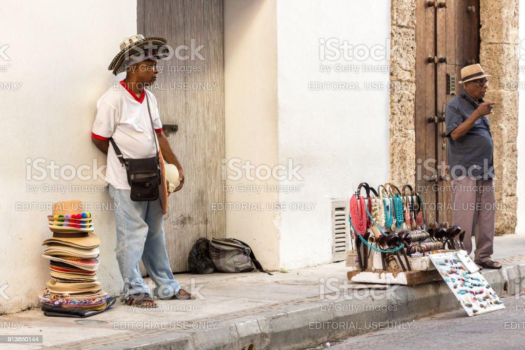 A hat vendor in Cartagena stock photo