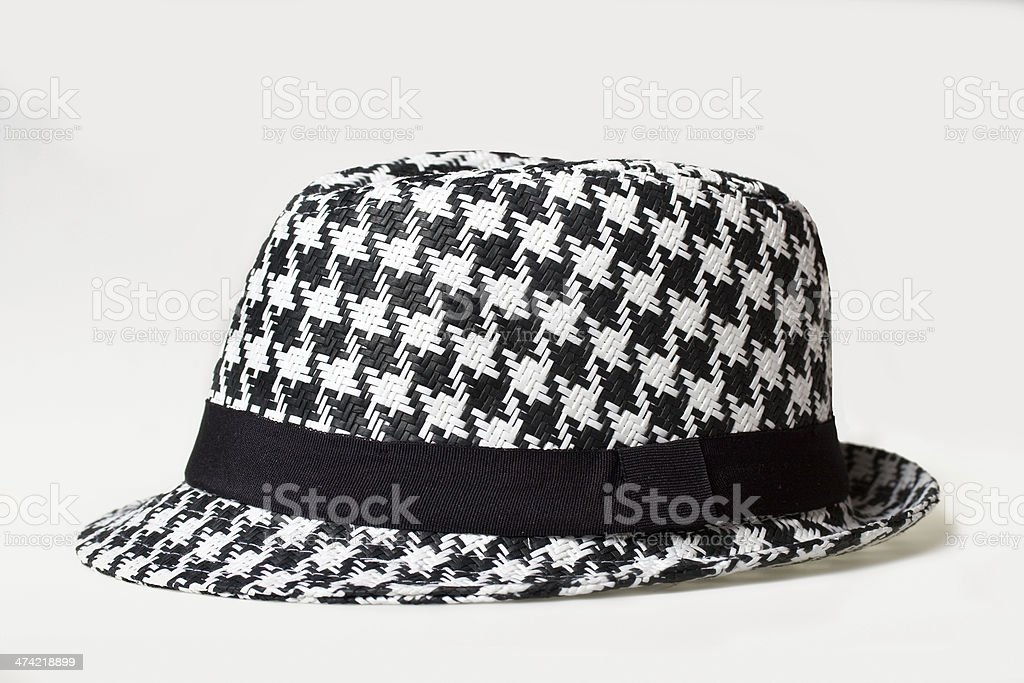 Hat with a houndstooth pattern stock photo