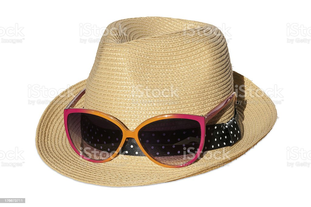 Hat with pink suglasses royalty-free stock photo