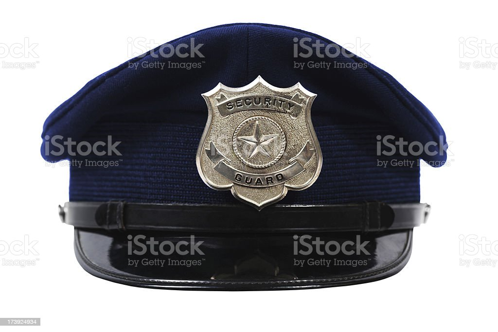 Hat with security guard badge stock photo