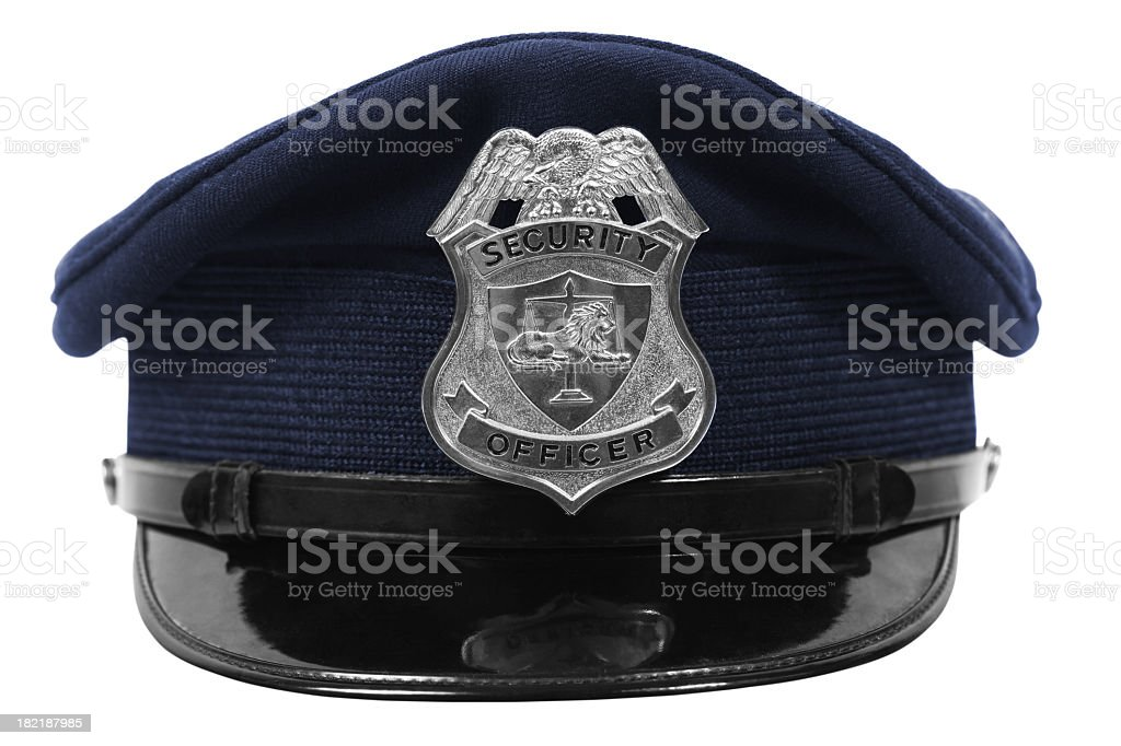 Hat with security officer badge stock photo