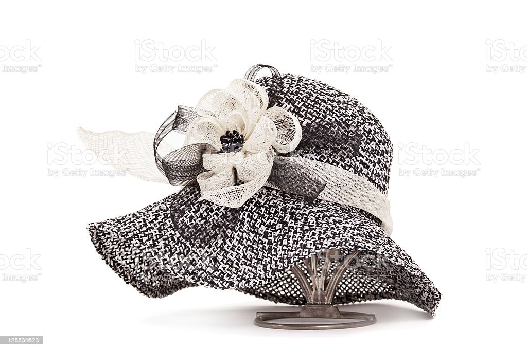 hat with tape and flower royalty-free stock photo