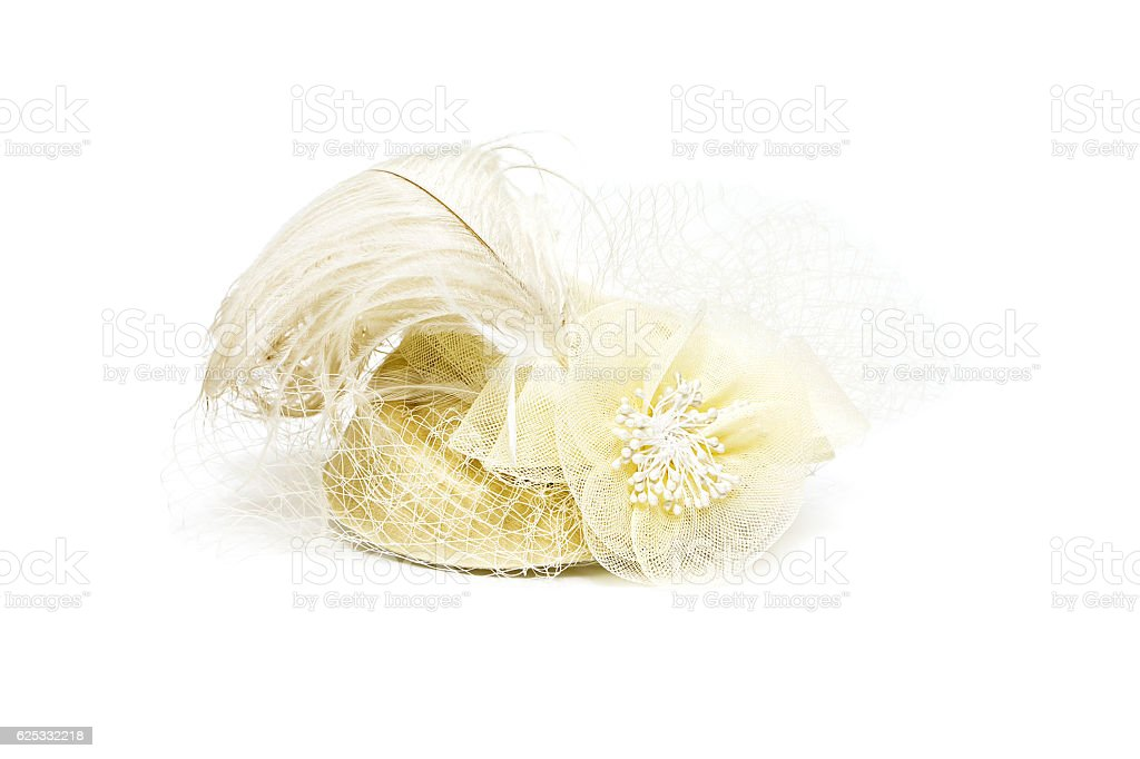 hat with veil and feathers on a white background stock photo