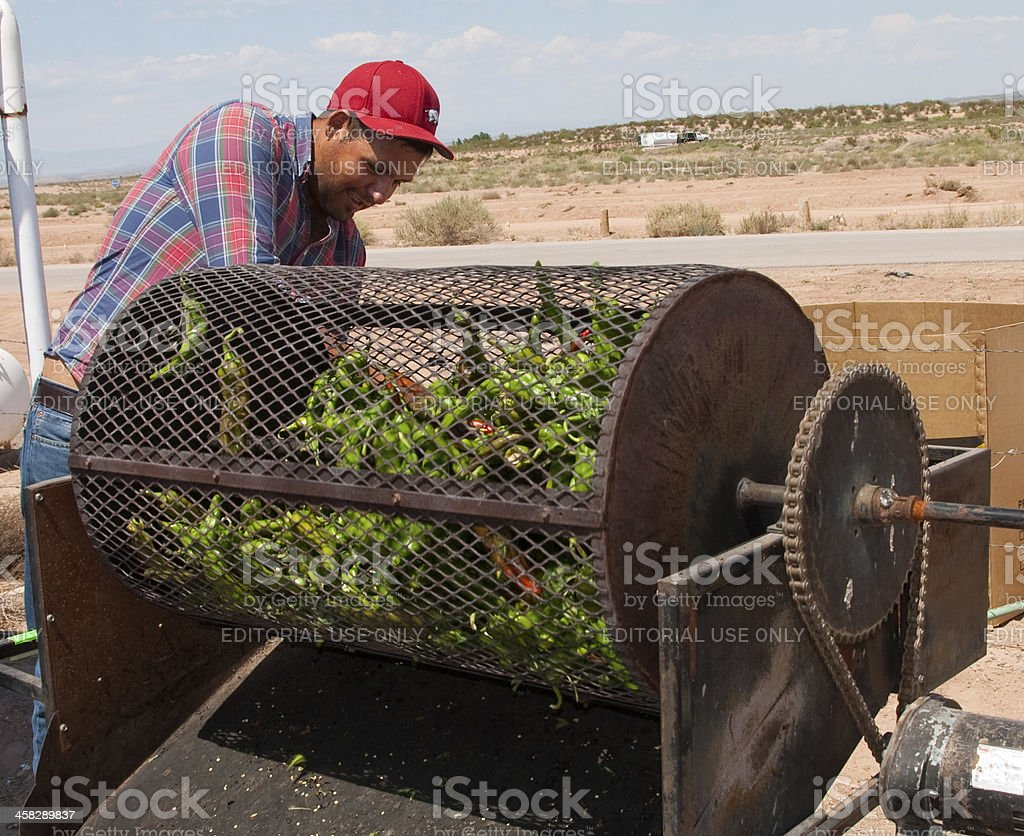 Hatch, New Mexico Green Chile Roasting stock photo