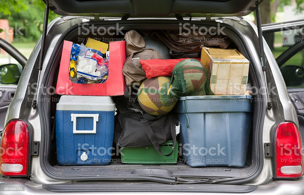 SUV hatchback packed for camping trip stock photo