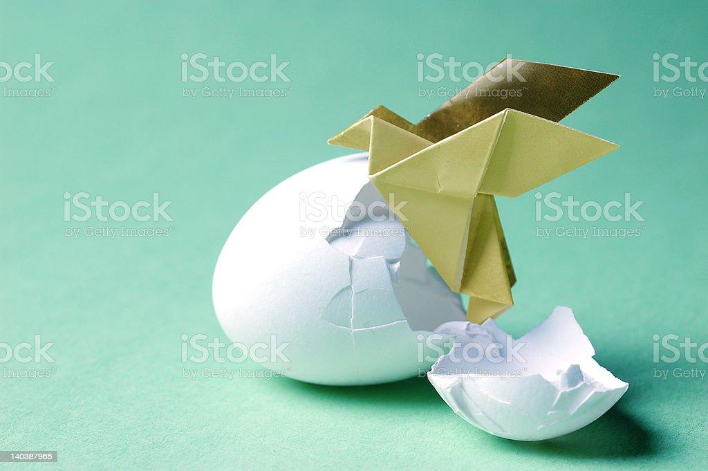 hatching bird art conceptual poetic minimal origami royalty-free stock photo