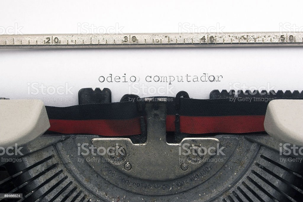 I  hate computer in portuguese royalty-free stock photo
