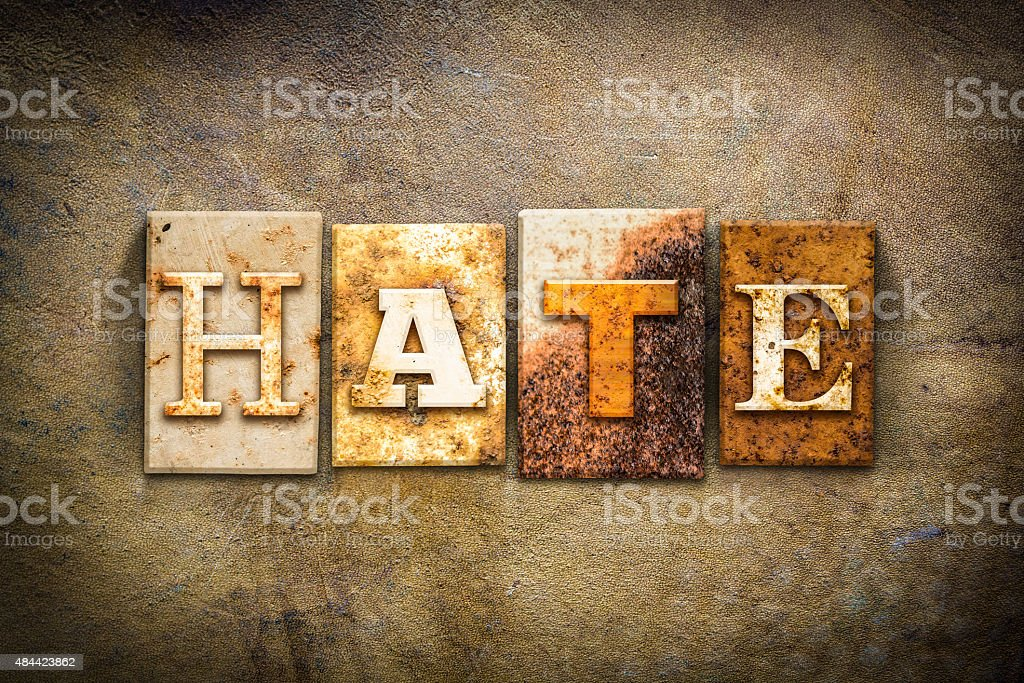 Hate Concept Letterpress Leather Theme stock photo