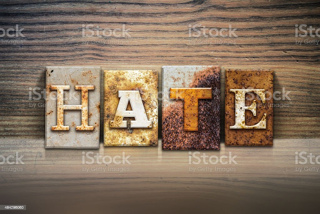 Hate Concept Letterpress Theme stock photo