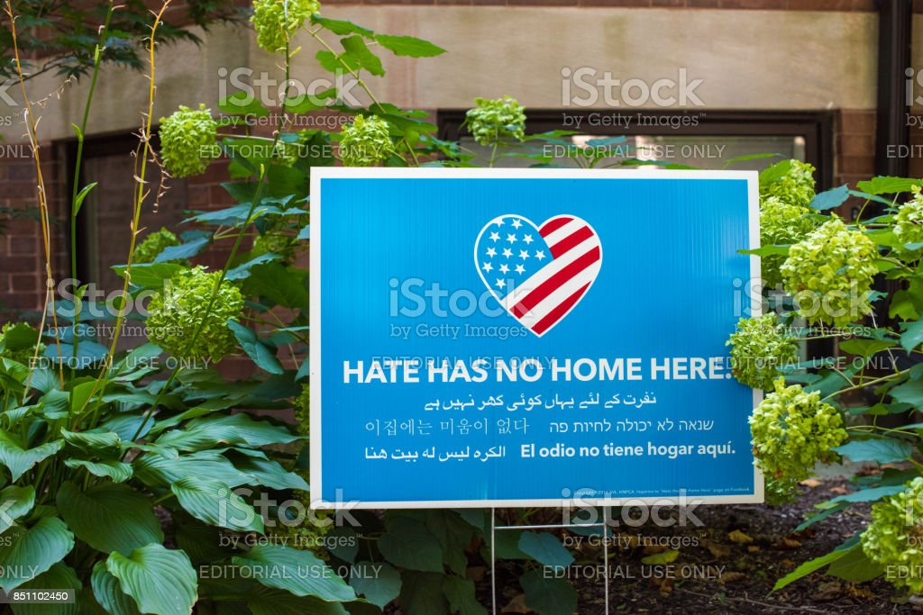 Hate Has No Home Here sign stock photo