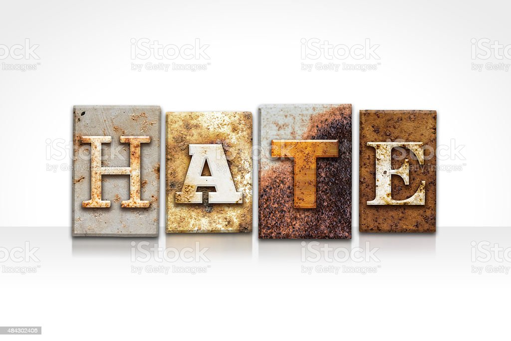 Hate Letterpress Concept Isolated on White stock photo