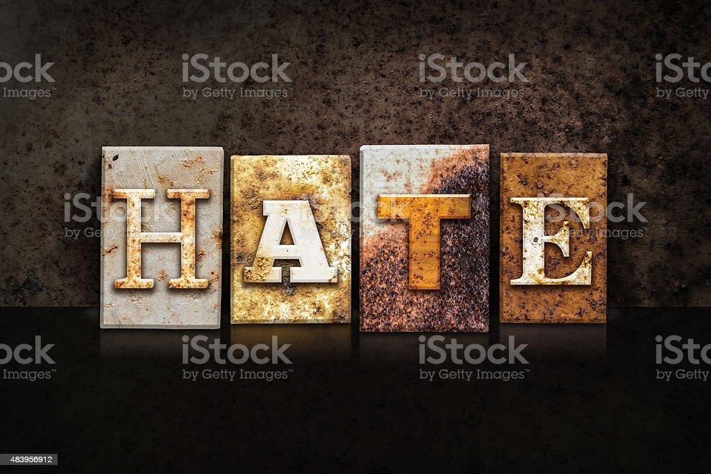 Hate Letterpress Concept on Dark Background stock photo