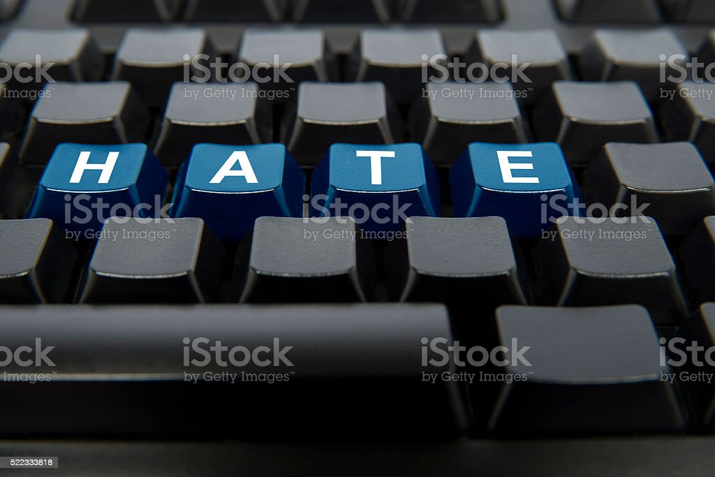 Hate Text Hate On Computer Keyboard. Abstract Stock Photo