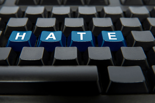 Text Hate On Computer Keyboard.