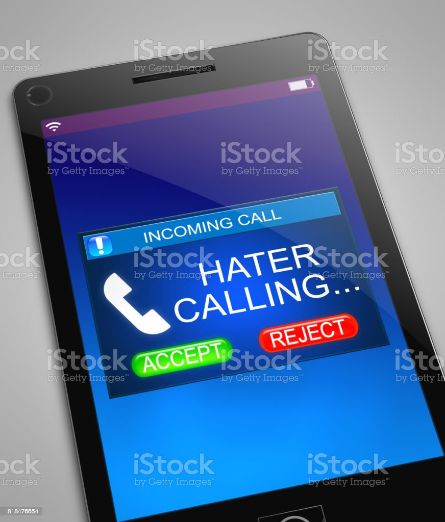 Hater calling concept. stock photo