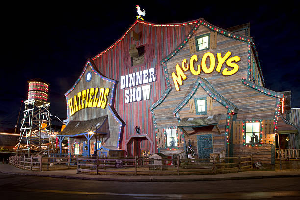 Hatfield & McCoy Dinner Show Theater in Pigeon Forge, Tennessee Pigeon Forge, Tennessee, USA - January 9, 2014: The unique facade of the Hatfield & McCoy Dinner Show Theater make it a landmark and major tourist attraction in Pigeon Forge, Tennessee. The facade of the building  resembles a large old farm barn with water tower. Live animals including goats, pigs and chickens are kept in the fence in area just outside the building. The dinner theater provides country humor entertainment while serving a typical country meal. pigeon forge stock pictures, royalty-free photos & images