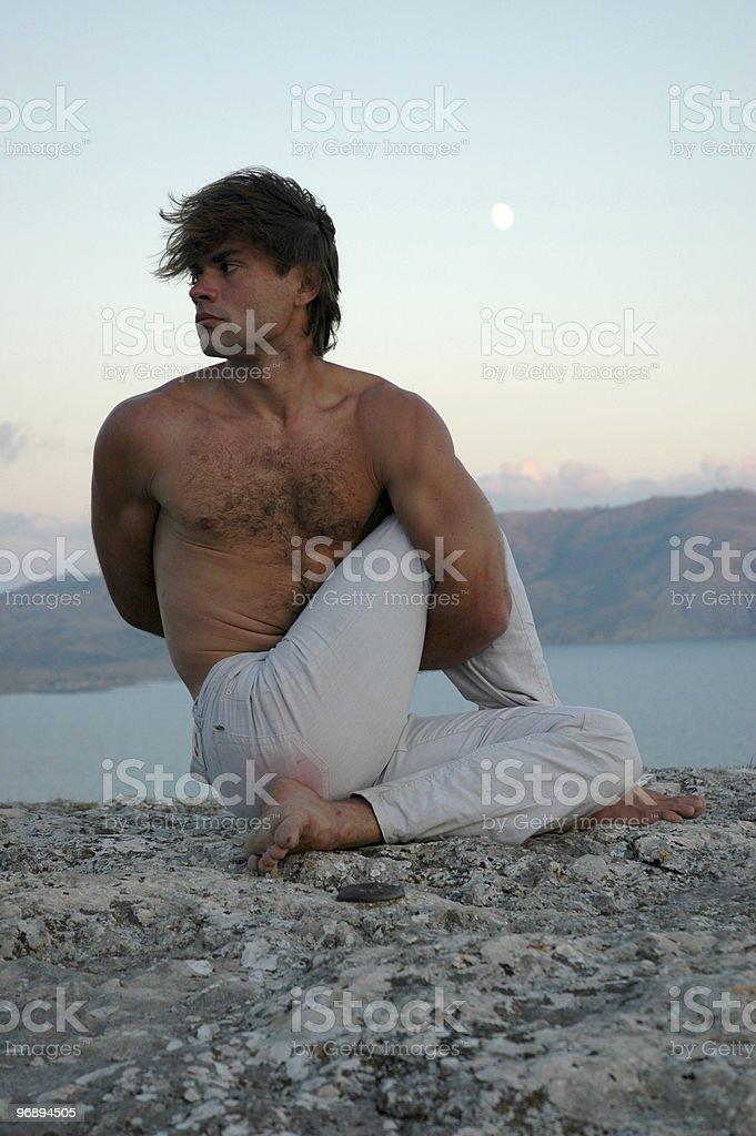 Hatha-yoga: Ardha Matsyendrasana royalty-free stock photo