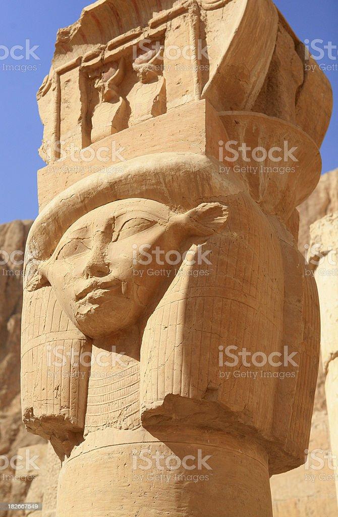 Hathor column from Queen Hatshepsut's Temple royalty-free stock photo
