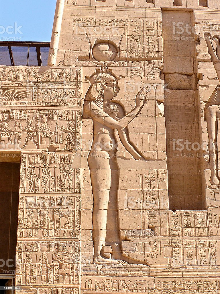 Hathor goddess, Philae temple stock photo