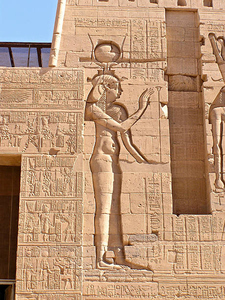 Hathor goddess, Philae temple stock photo