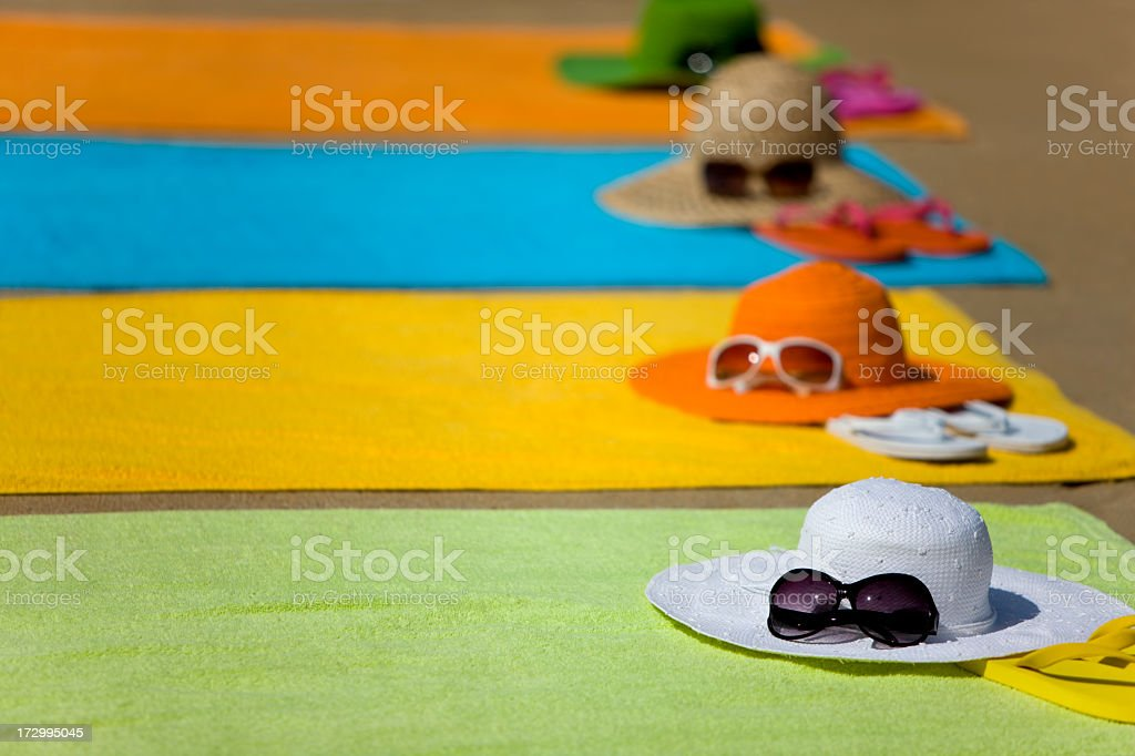 hats and towels stock photo