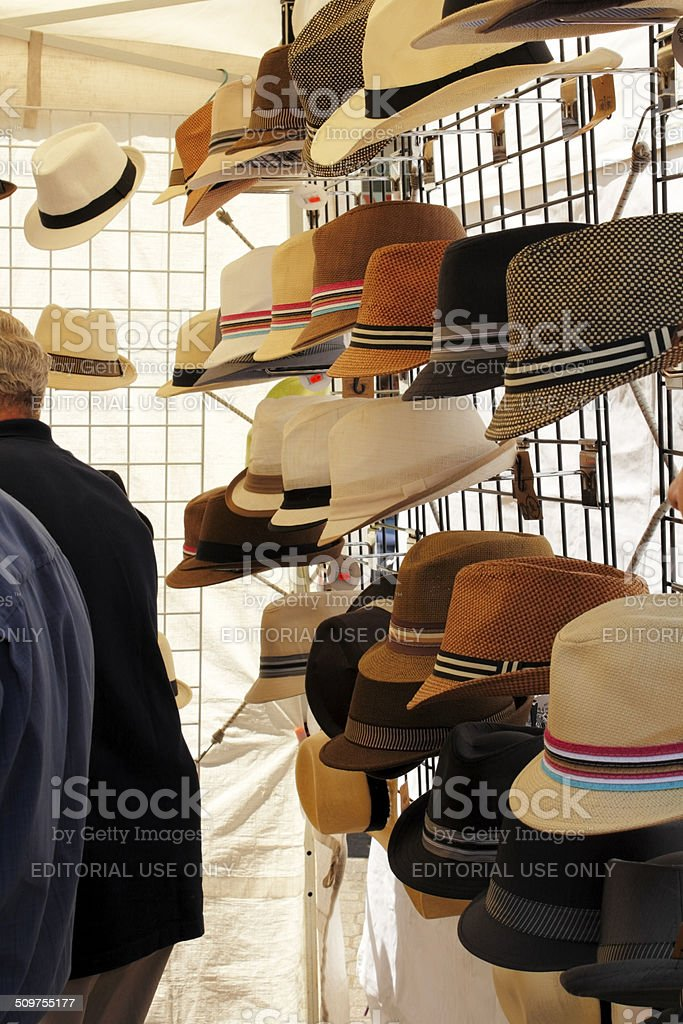Hats for Sale at Saturday Market stock photo