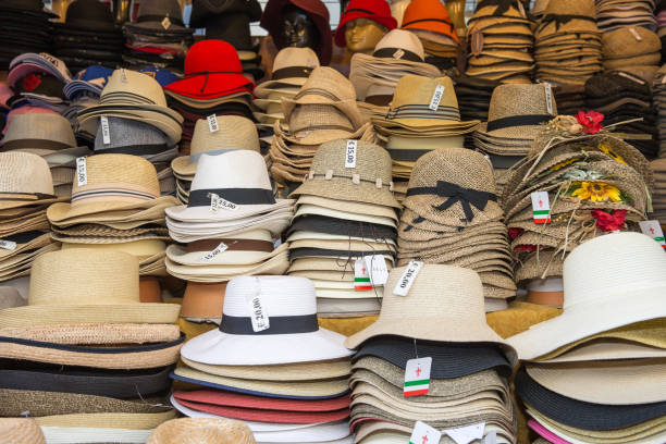 Hats For Sale In An Italian Street Market Stock Photo   More Pictures of  Arts Culture and Entertainment  981902065742