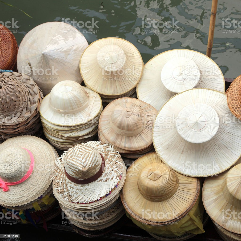Hats made of bamboo leaves stock photo