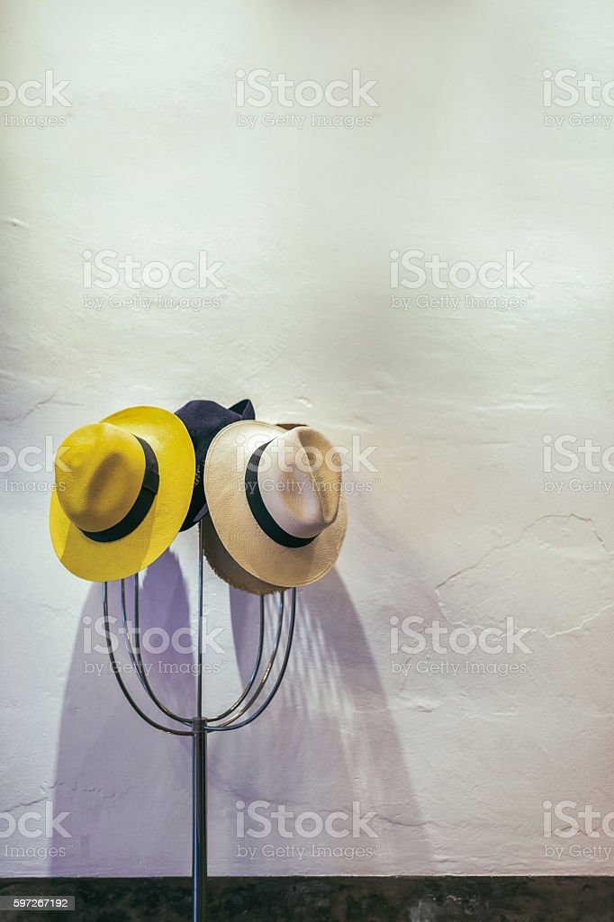 Hats on hanger royalty-free stock photo