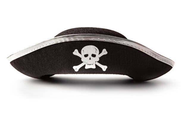 Hats: Pirate Hat Isolated on White Background Hats: Pirate Hat Isolated on White Background pirate criminal stock pictures, royalty-free photos & images