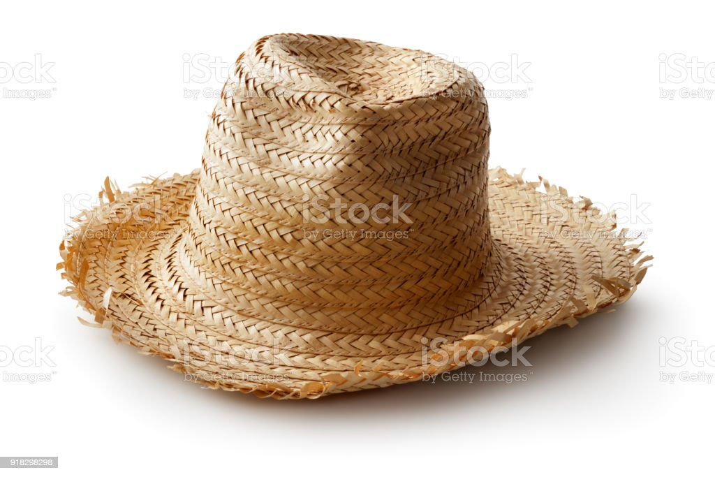 Hats: Straw Hat Isolated on White Background stock photo