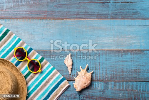 674650538istockphoto Hats, sunglasses, beach shoes, towels on the board 969596478