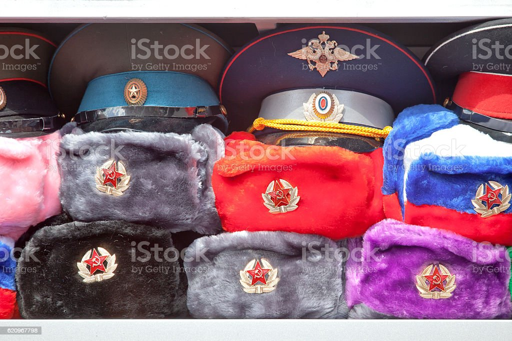Hats with earflaps stock photo