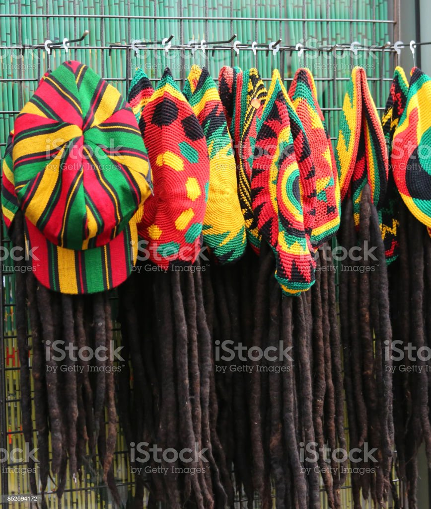hats with the colors of the Jamaican flag for sale in the costum stock photo