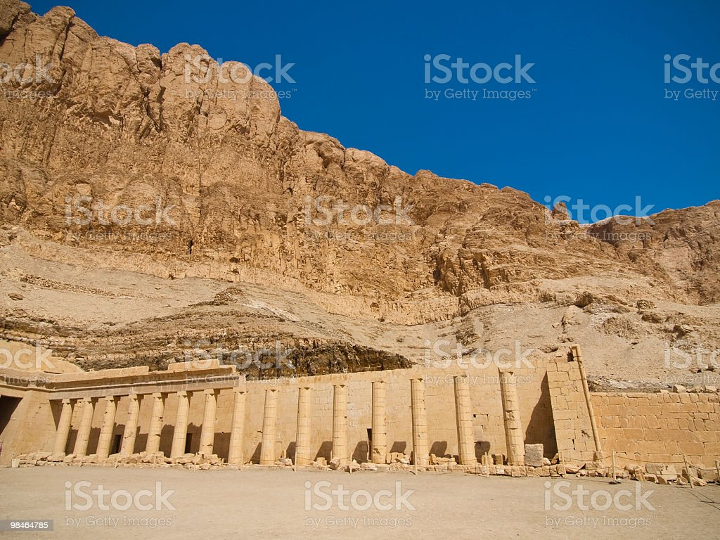 hatshepsut temple against blue sky and mountain royalty-free stock photo