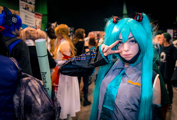 hatsune miku cosplay - england stock photos and pictures