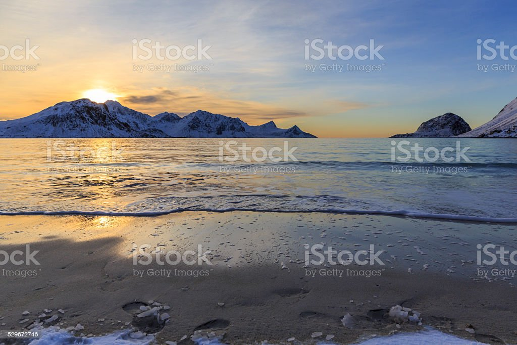 Haukland beach on Lofoten Islands stock photo