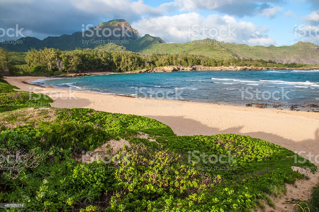 Ha'ula Beach, Kauai. stock photo