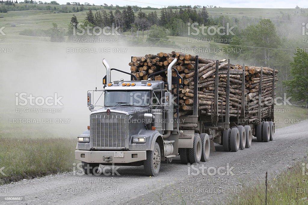Hauling logs on Pennask Lake Road. stock photo