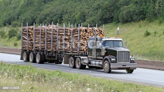 Front quarter view of a semi truck hauling a load of saw logs to the lumber mill to  be sawn and finished into studs for the home building industry. 16:9 aspect ratio.