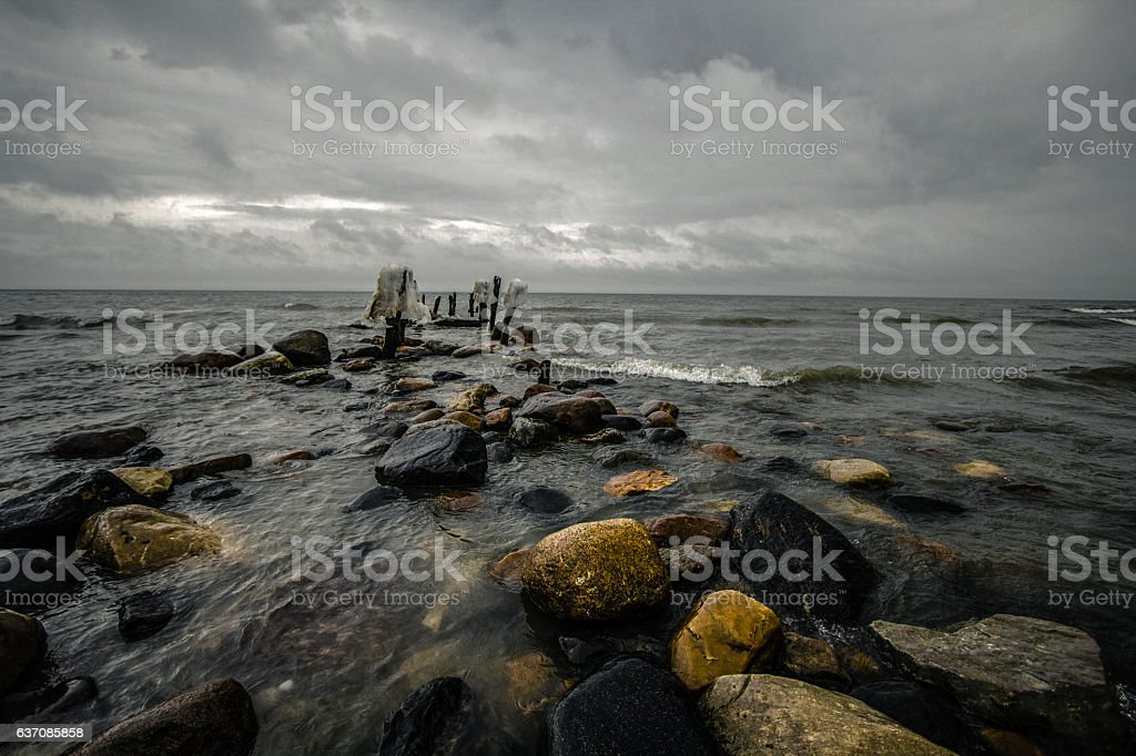 Haunted Great Lakes Beach In Michigan stock photo