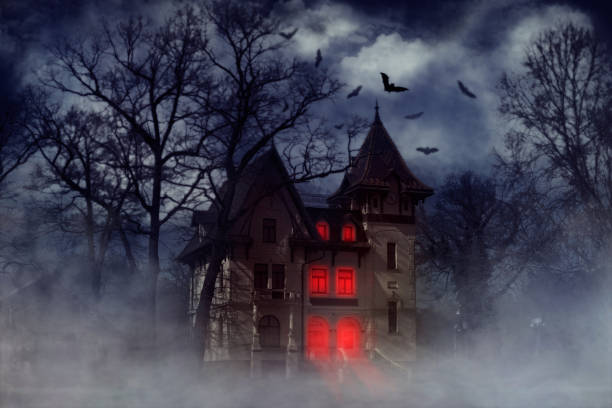haunted halloween house - horror stock pictures, royalty-free photos & images