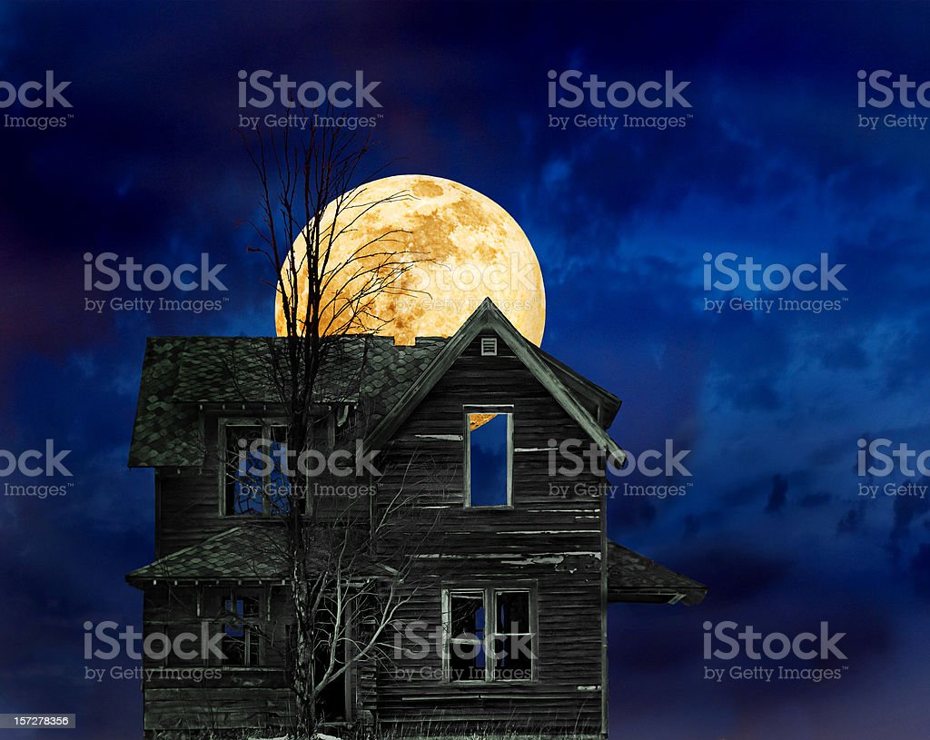 Haunted Halloween house royalty-free stock photo
