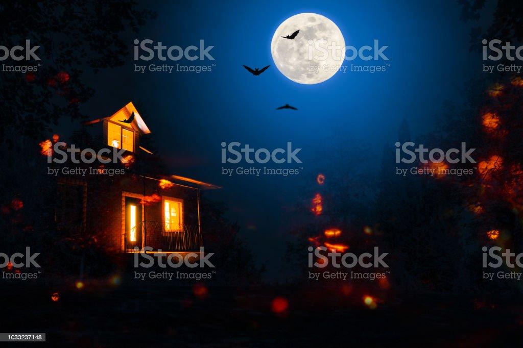ハロウィーンの夜にお化け屋敷 ロイヤリティフリーストックフォト