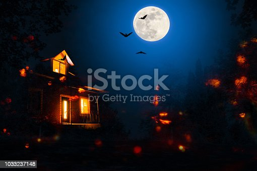 istock haunted house in the halloween night 1033237148